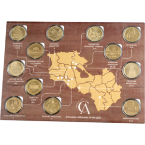 Commemorative medals/coins collection and map