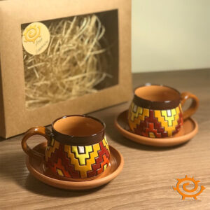 Coffee cup set with carpet patterns