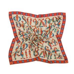 "Silk Scarf ""Medieval bird-letters"""