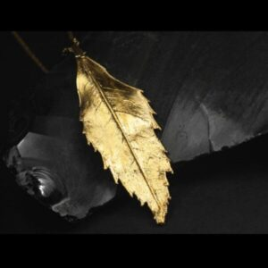 Ash tree leaf pendant gold plated