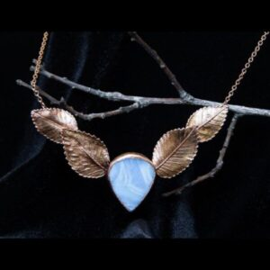 Elm leaves necklace with agate