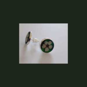 Colorful button-earrings Round with flower