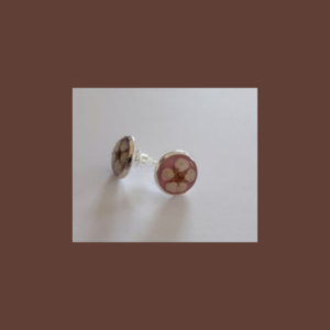 Colorful button-earrings Round with flower Rose