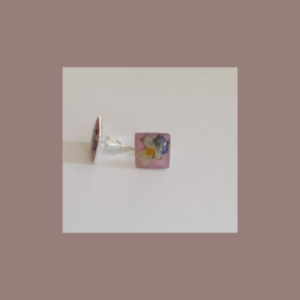 Colorful button-earrings Rose with flower